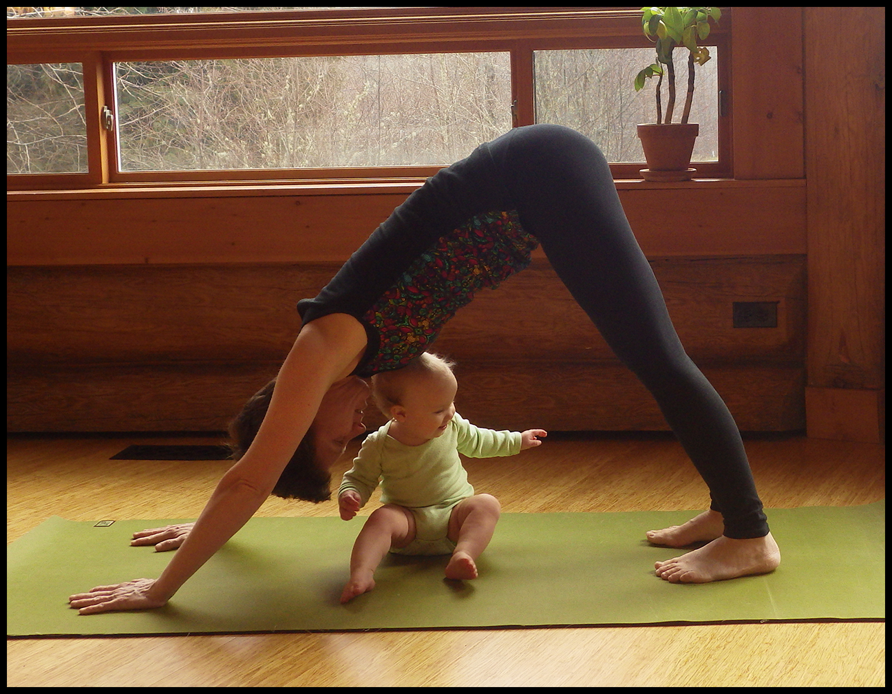 Mama and baby yoga featuring nursing activewear from 5 out of 4 Patterns