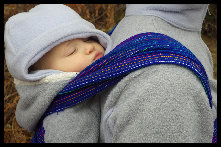 Active babywearing - Sleeping hiker is cozy on mama's back.