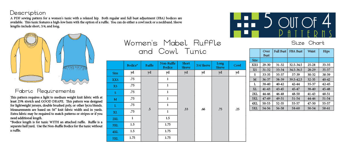 5oo4 Women's Mabel Ruffle and Cowl Tunic info page
