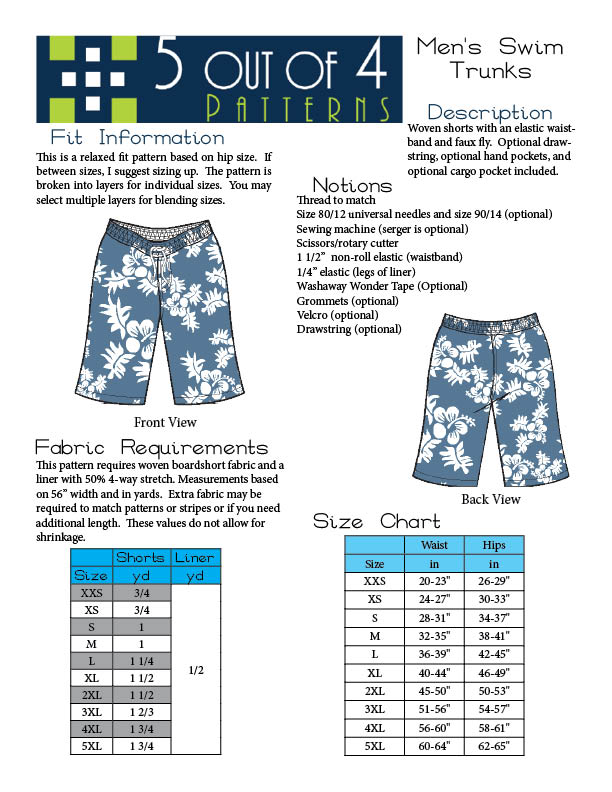 5oo4 Men's Swim Trunks Info Page 2