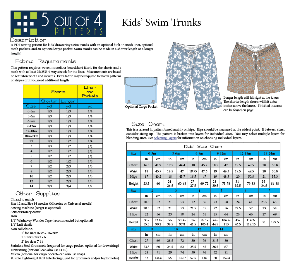 5oo4 Kids' Swim Trunks Info Page