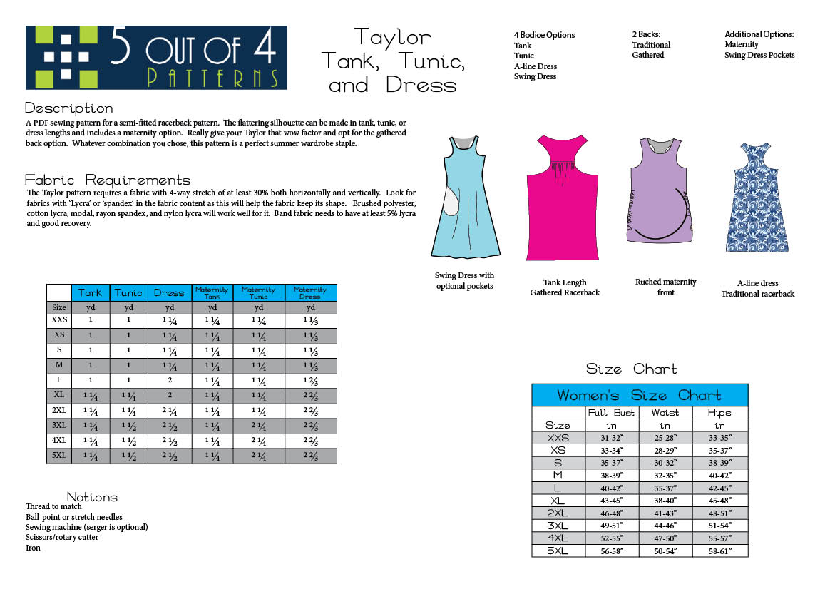 Info Sheet for Taylor Racerback