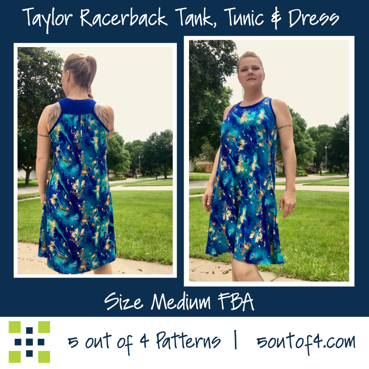 Taylor Racerback Swing dress gathered back