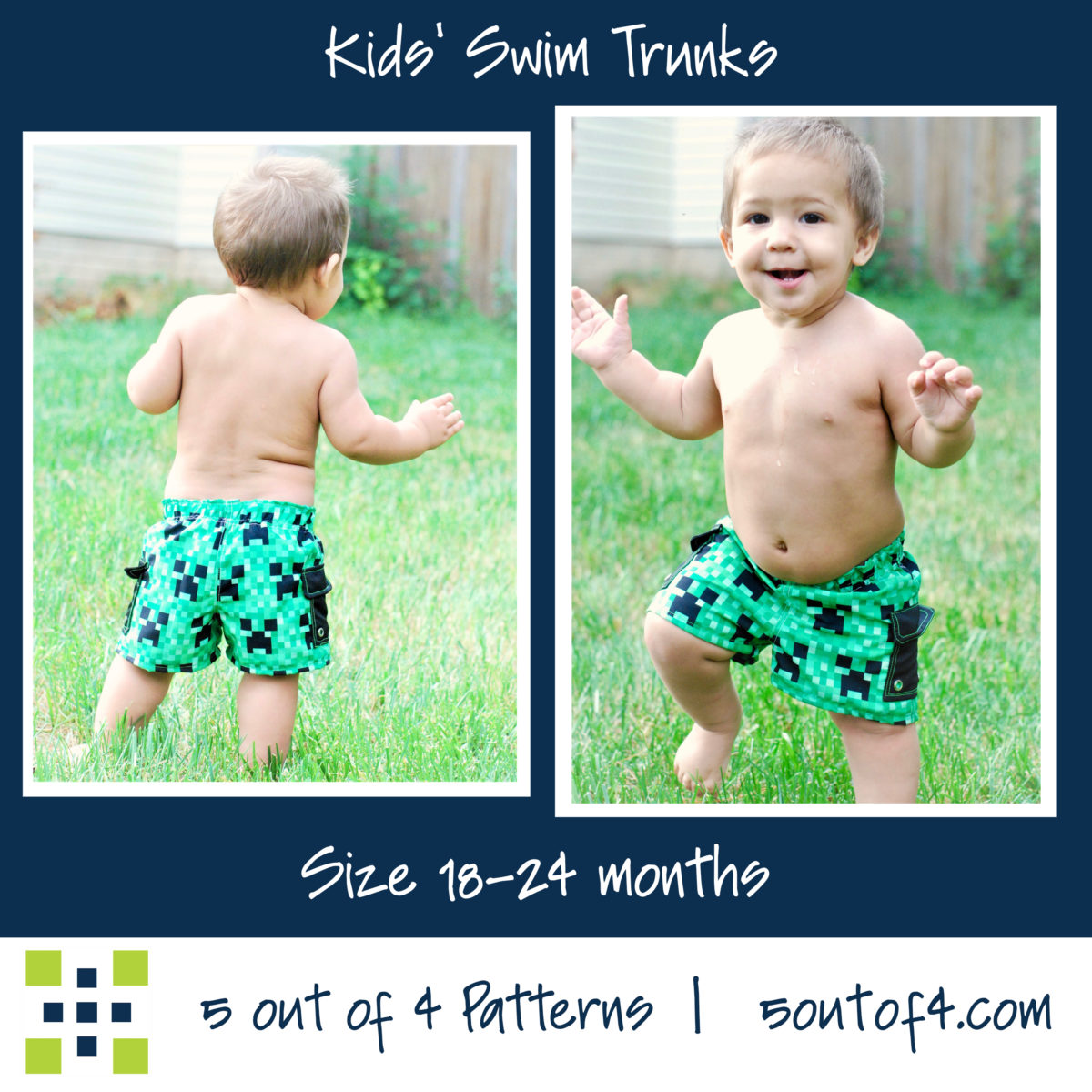 5oo4 kids' swim trunks size 18-24 cargo