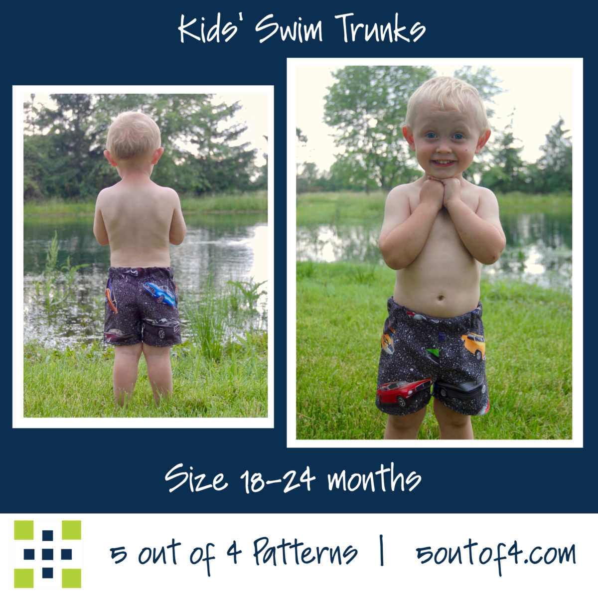 5oo4 kids' swim trunks size 18-24 months
