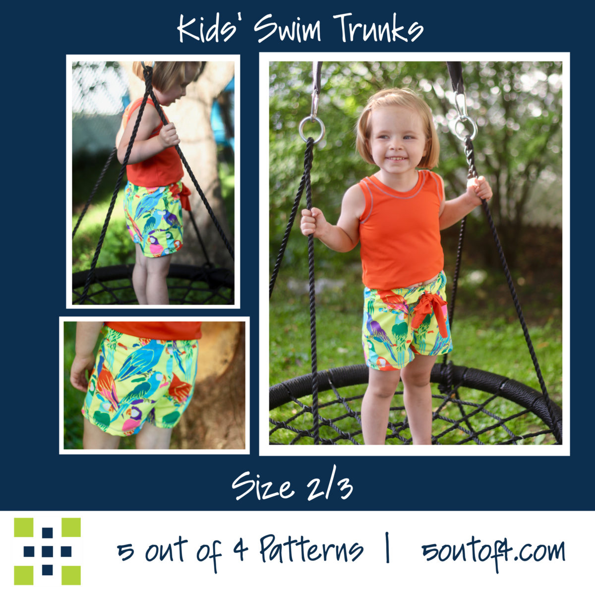 5oo4 kids' swim trunks size 2:3 short
