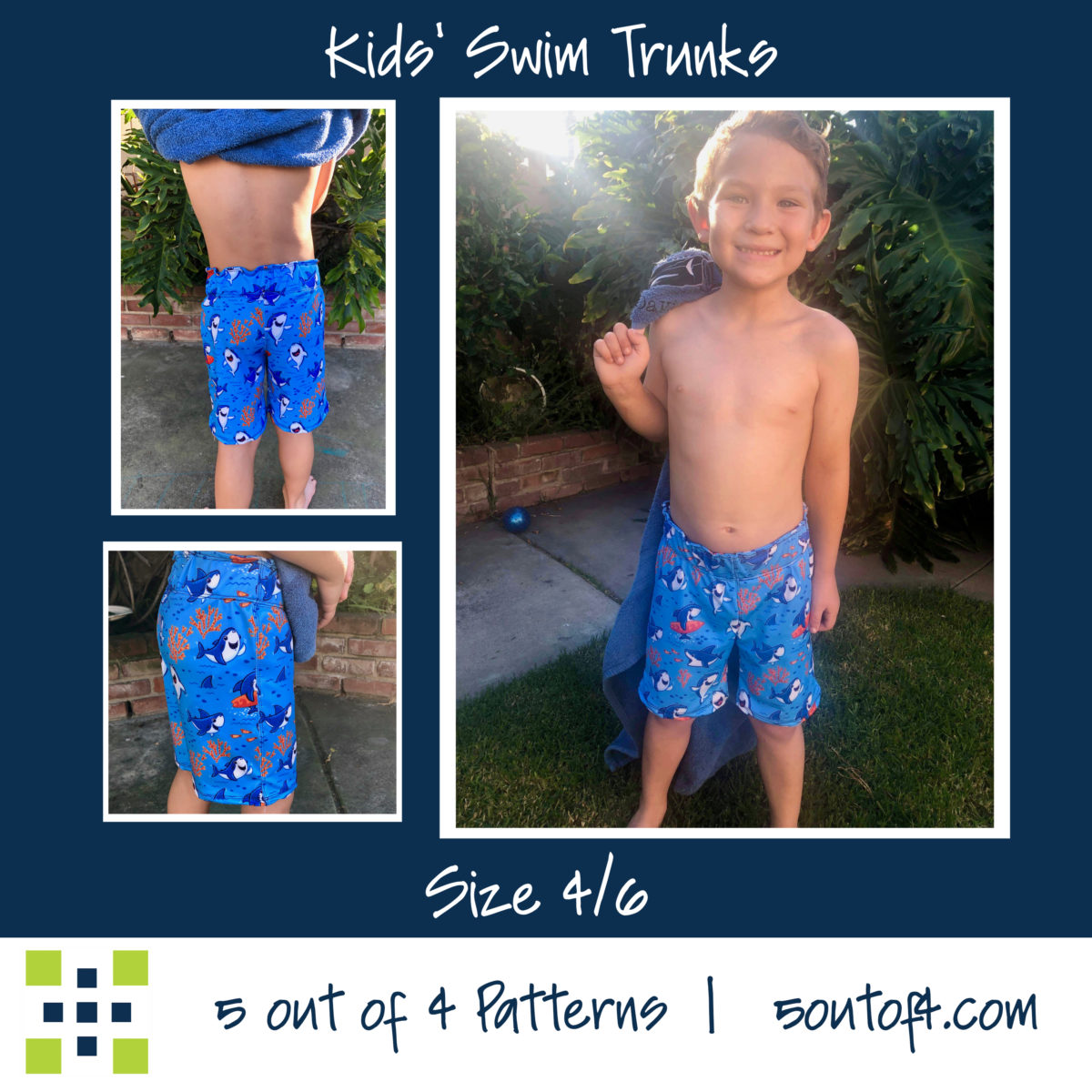 5oo4 kids' swim trunks size 4:6