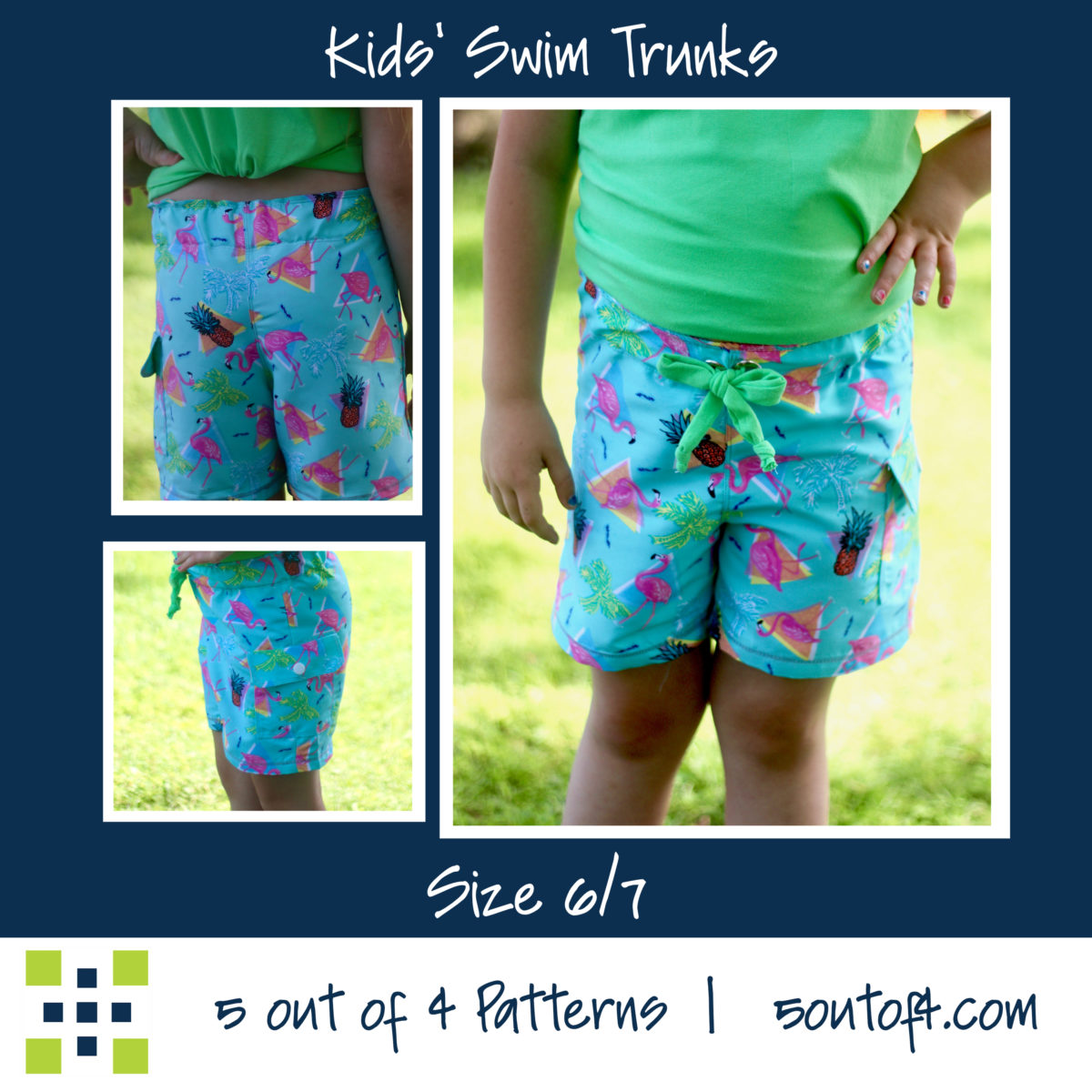 5oo4 kids' swim trunks size 6:7