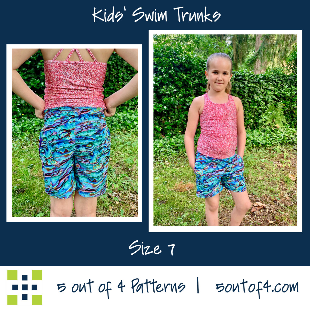 5oo4 kids' swim trunks size 7