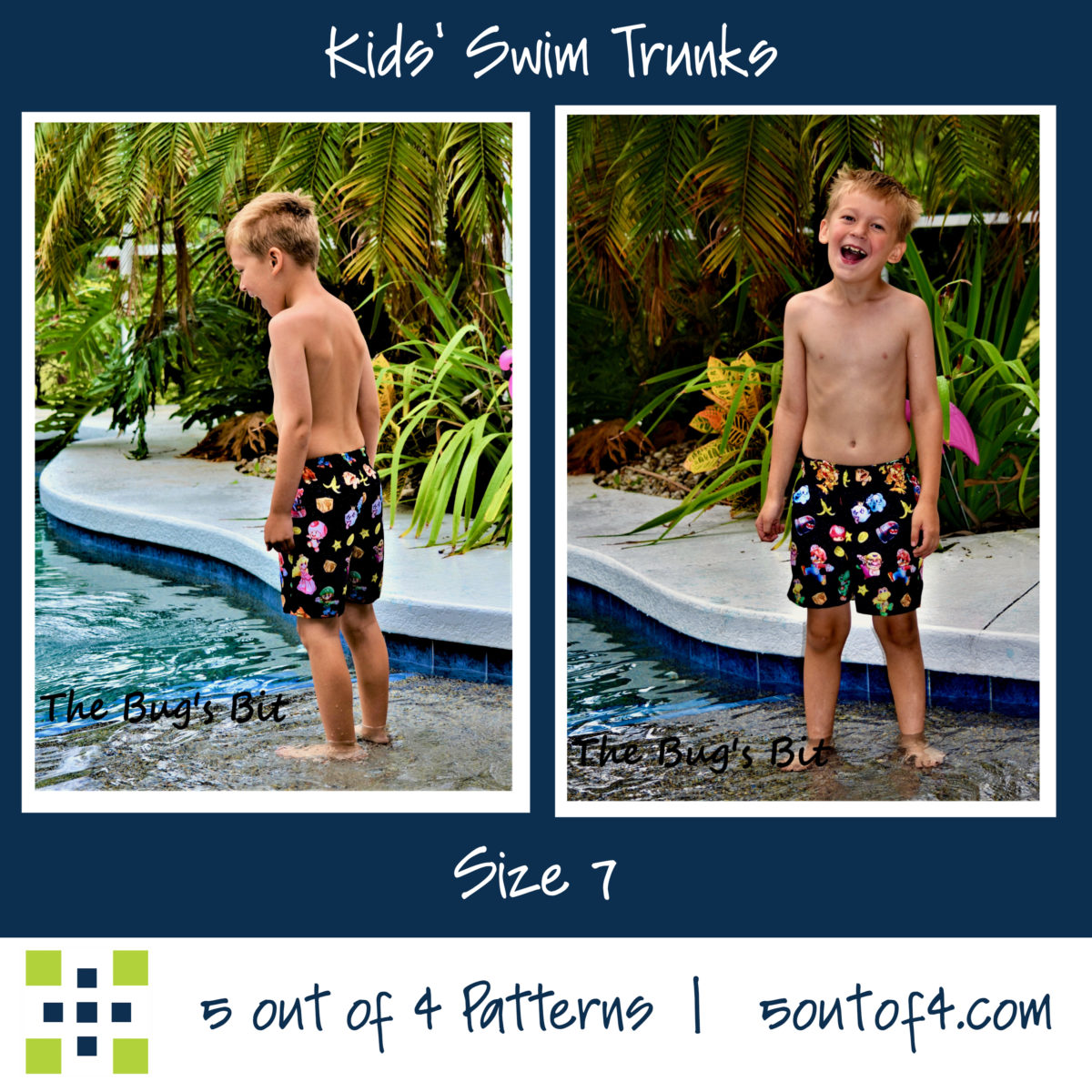 5oo4 kids' swim trunks size 7 short