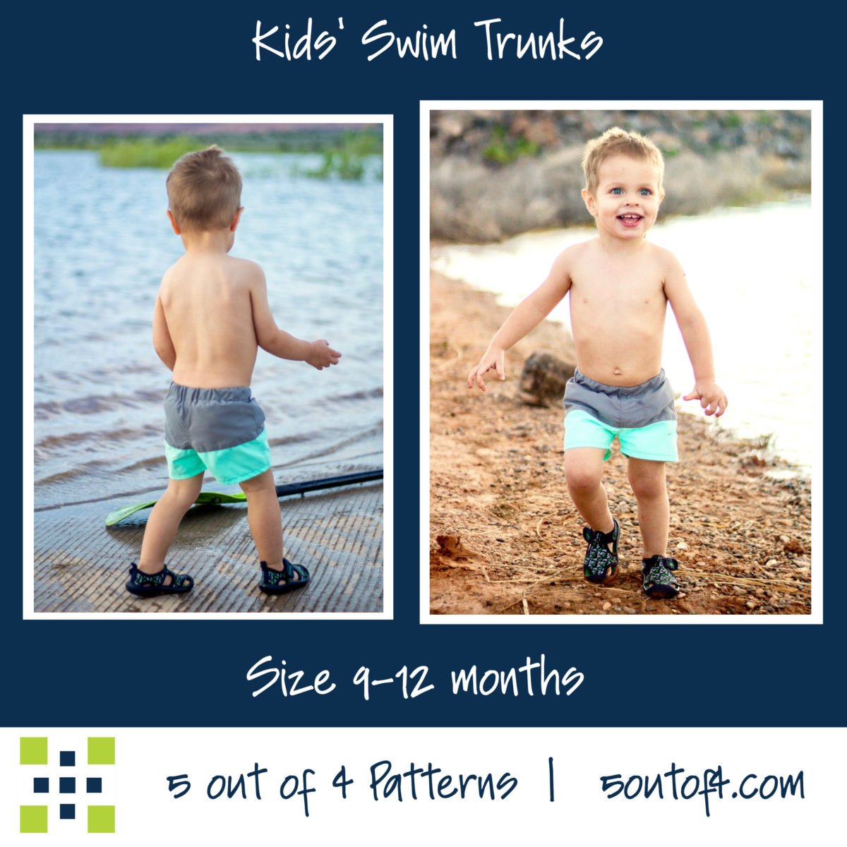 5oo4 kids' swim trunks size 9-12 m