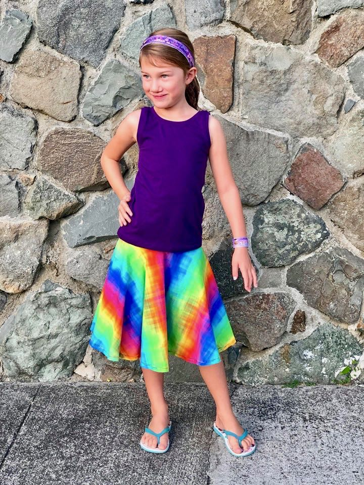 5oo4 kid_s Mandy Fitted Tank Size 5chest graded 6 length and Luna circle skirt