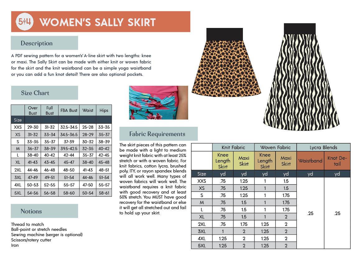 Women's Sally Skirt Info Page