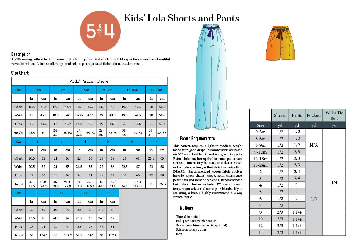Kids' Lola Shorts and Pants Info Page