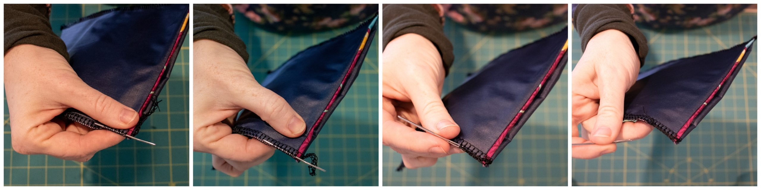 hiding serger tails for the DIY Reusable Snack Bag