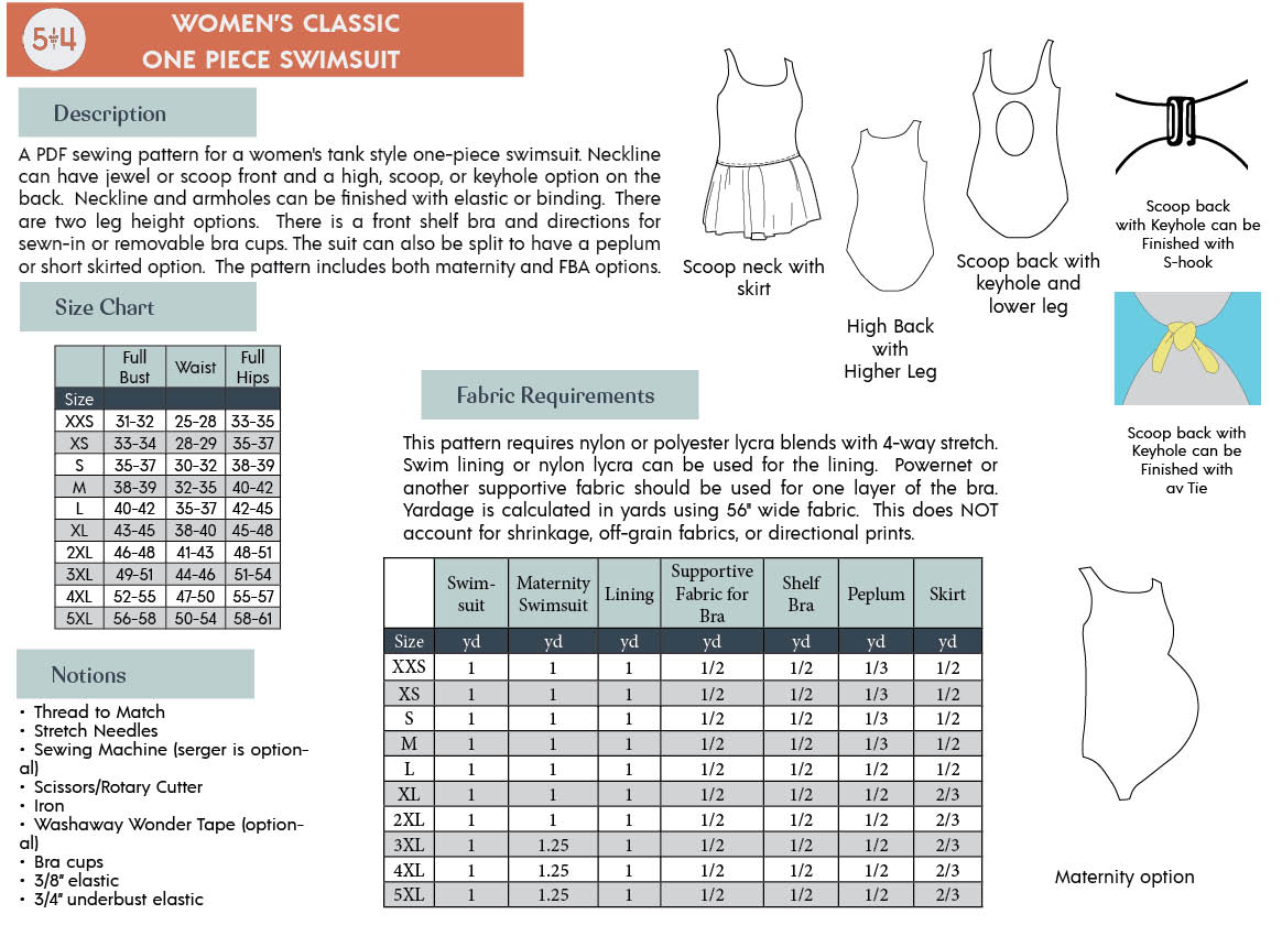 Women's Classic One Piece Info Page