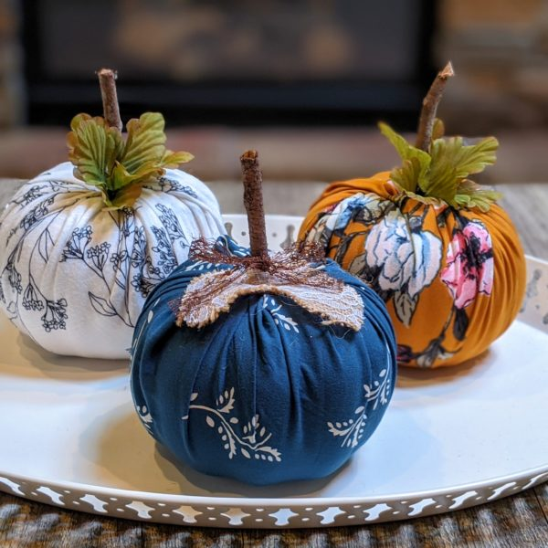DIY no sew fabric pumpkins