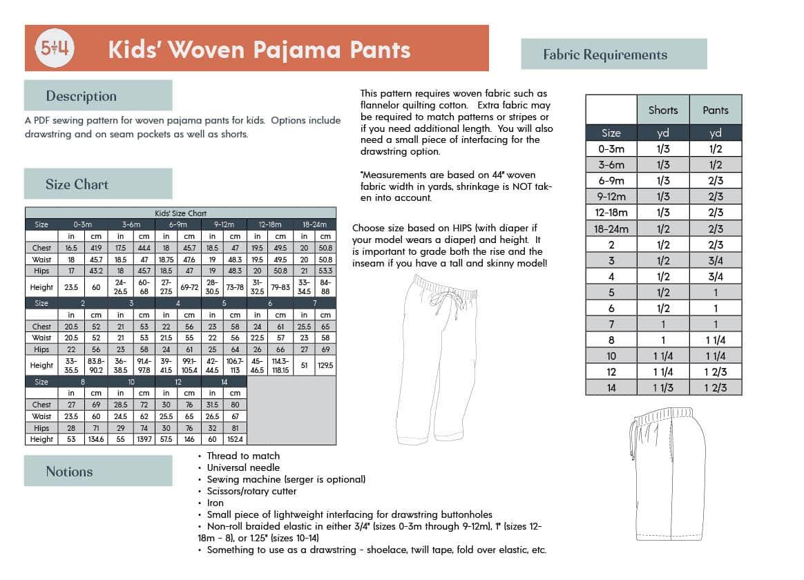 5oo4 Kids' Woven Pajama Pants Info Page