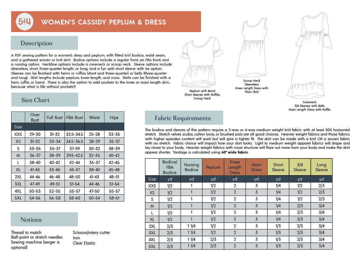 5oo4 Cassidy Peplum and Dress Info Page