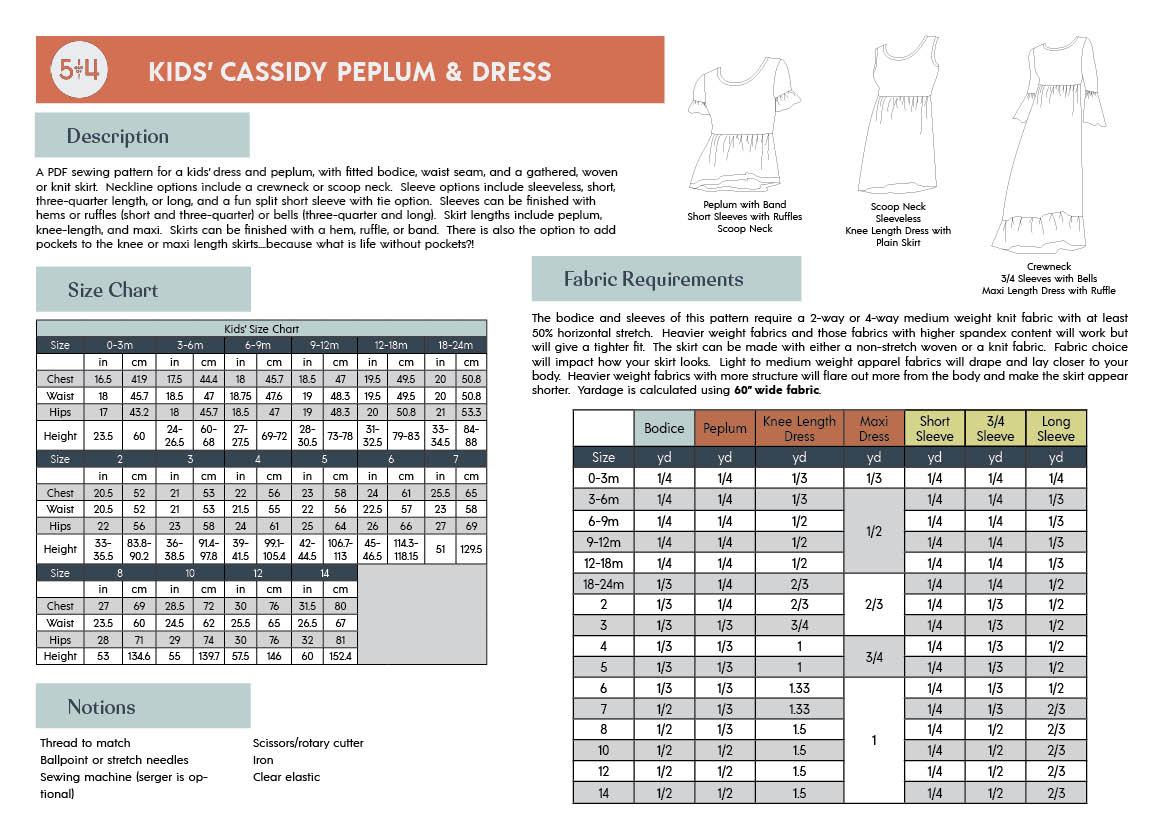 5oo4 Kids' Cassidy Peplum and Dress Info Page