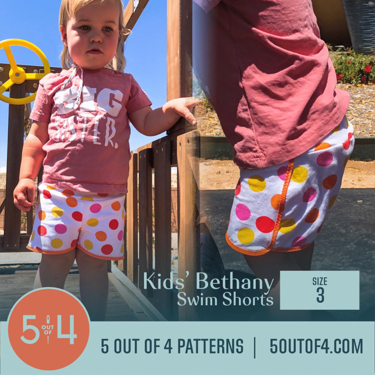 toddler wearing size 3 swim shorts