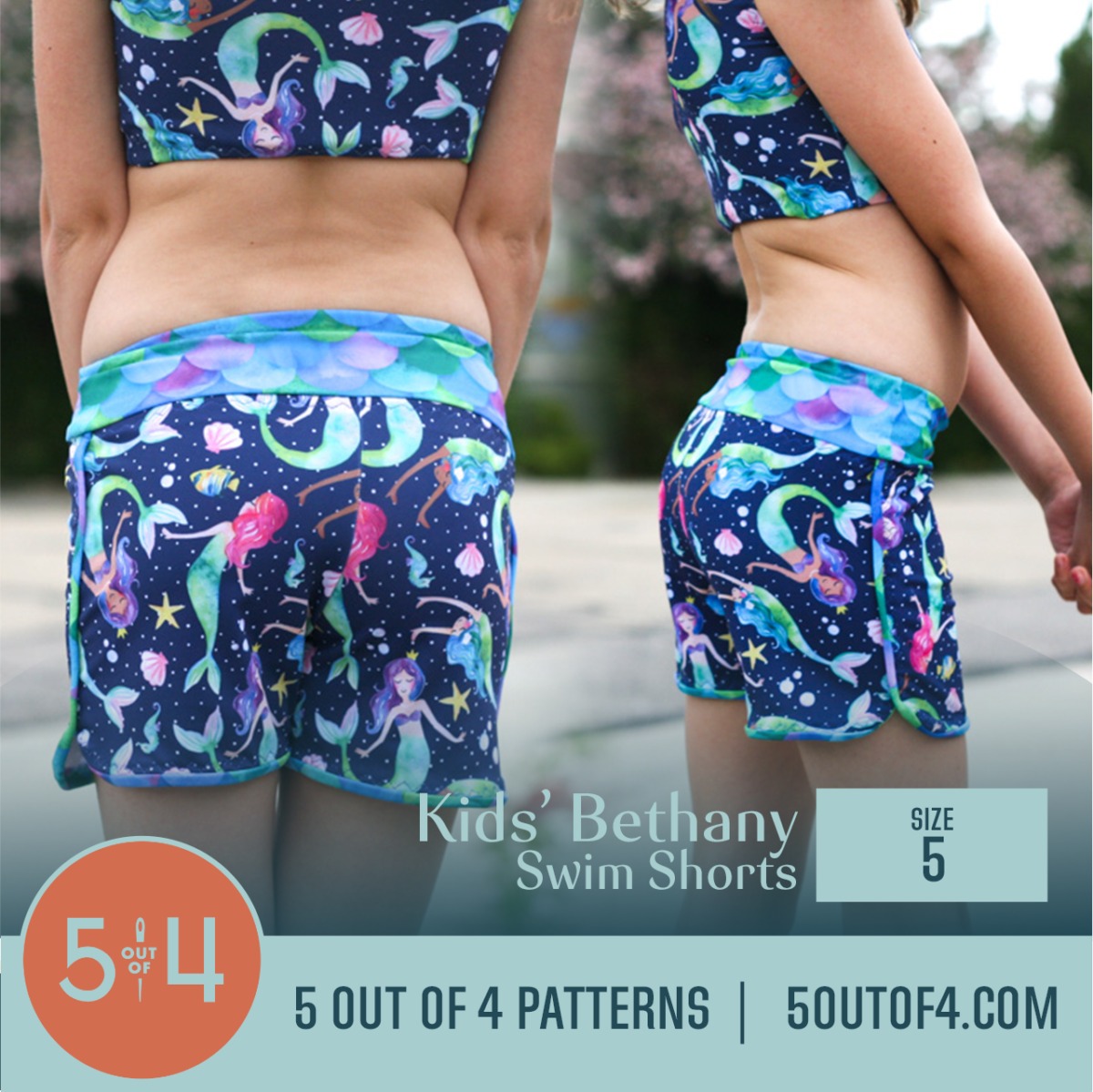 girl wearing size 5 swim shorts