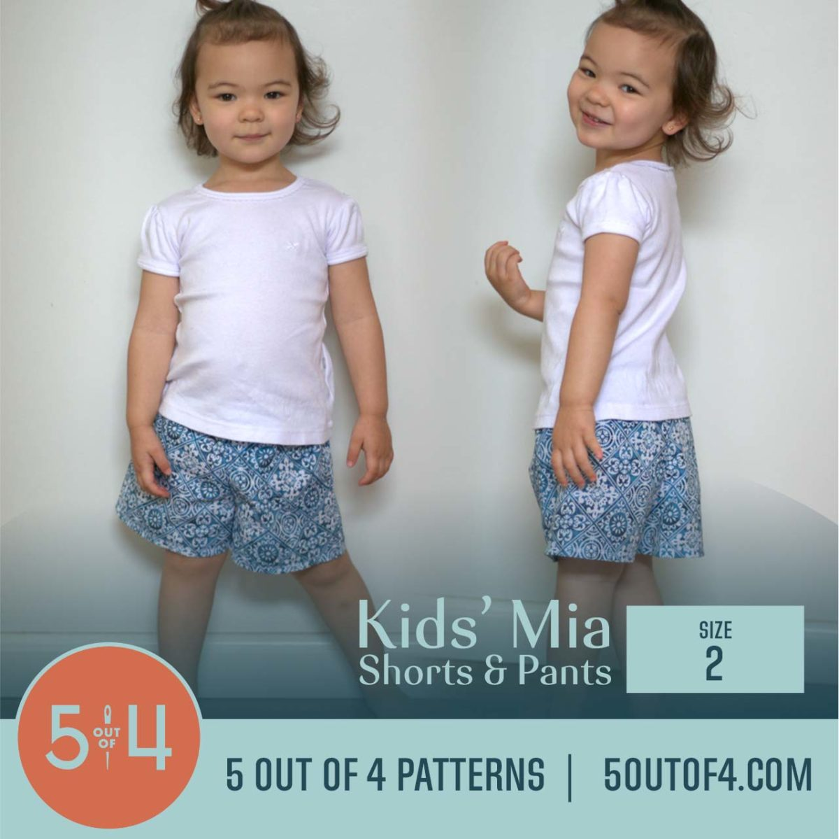 5oo4 Patterns Kids' Mia Pants Size 2