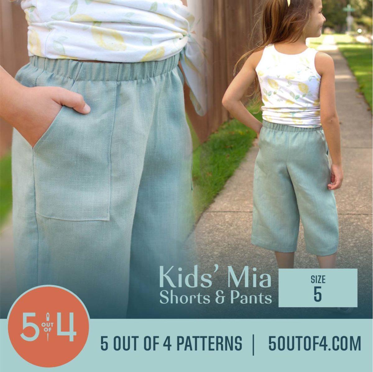 5oo4 Patterns Kids' Mia Pants Size 5