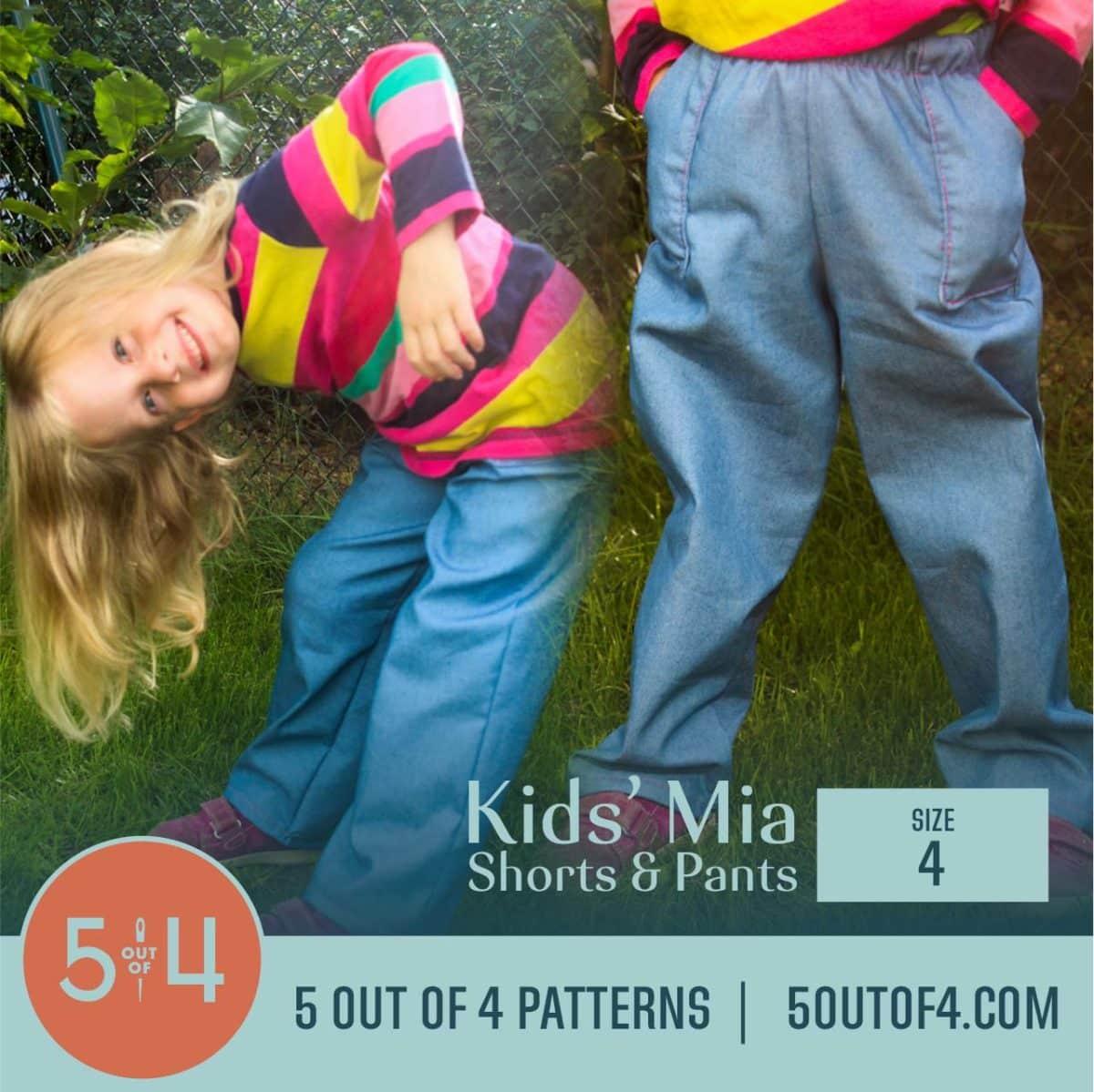 5oo4 Patterns Kids' Mia Pants Size 4