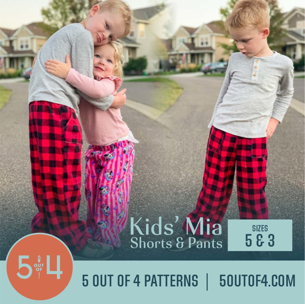 5oo4 Patterns Kids' Mia Pants Size 5 and 3