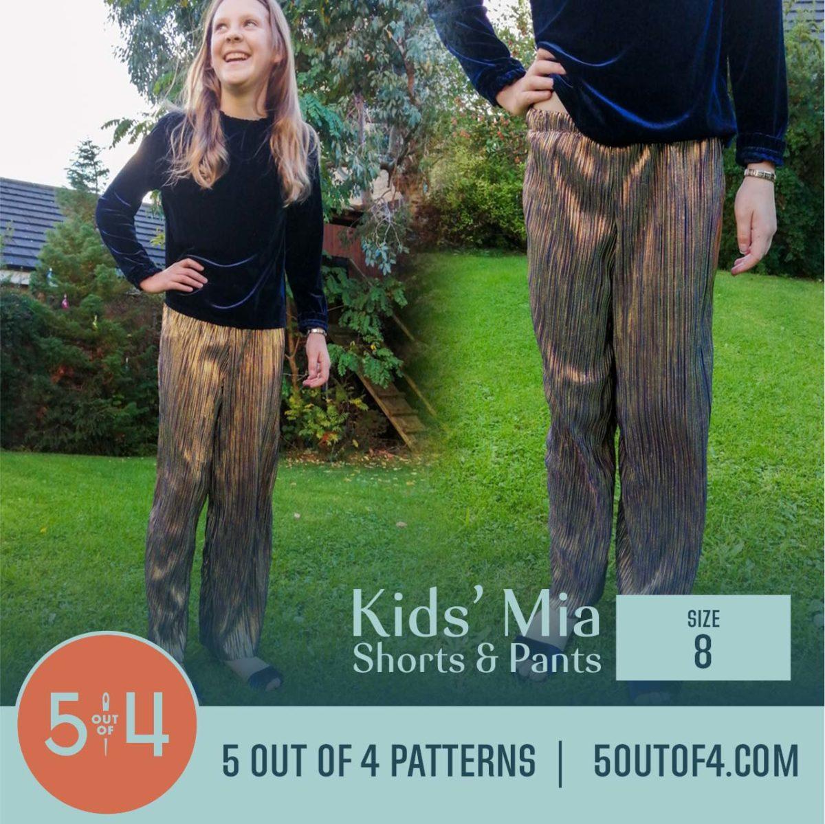 5oo4 Patterns Kids' Mia Pants Size 8