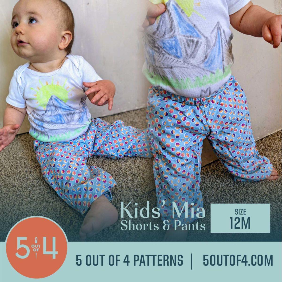 5oo4 Patterns Kids' Mia Pants Size 12M